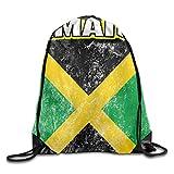 Pillow Socks Huge Shredded Jamaica Flag Unisex Drawstring Backpack Travel Sports Bag Drawstring Beam Port Backpack.