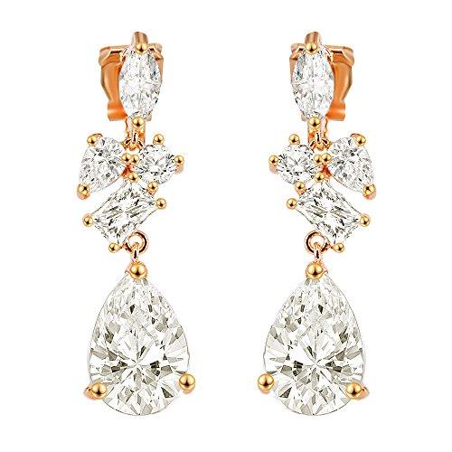 BiBeary Damen Zirkonia CZ elegant Tropfen Form Ohrringe Ohrclips Clip-on klar gold-Ton