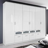 Preisvergleich für Kleiderschrank Hochglanz weiß 6 Türen B 271 cm Schrank Drehtürenschrank Wäscheschrank Kinderzimmer Jugendzimmer