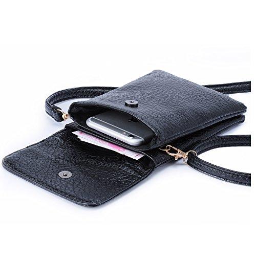 Hengying PU Leder Kleine Handytasche Mini Umhängetasche Geldbeute Universal Handy Tasche-Beutel mit Vielen Fächern für Damen Mädchen Kinder, Schwarz (Leder Kleine)