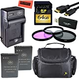 Intermediate Accessory Kit For Nikon Coolpix P900 Digital Camera - Includes 2 ENEL23 Batteries And Battery Charger + 64GB SD Memory Card + 67mm 3PC Filter Kit + Deluxe Carrying Case + More!!