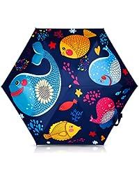 DORRISO Linda Paraguas Plegable Infantil Chicas Chicos Niños Estudiante Paraguas Resistente al Viento Impermeable Anti-