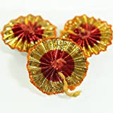 Embroiderymaterial Gota Patti Flowers Appliques Patches for Embroidery Decoration and Craft Making(Red Gold 100 Pieces)