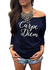 FEITONG Mujeres sueltan Tops manga larga La camiseta de la blusa ocasional