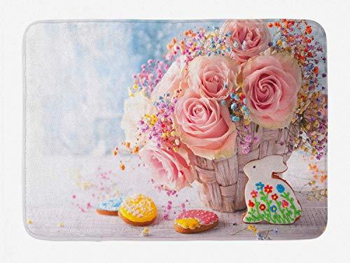 Tappetino da bagno coniglietto pasquale, disposizione per le vacanze di primavera con rose, biscotti pasquali e coniglietti, tappeto da bagno in peluche con supporto antiscivolo, multicolore