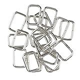 MagiDeal 20 Stück Metall Rechteck Ring Keine geschweißt für D Dee Ring Gurtband Gürtel Band Schnallen - Silber, 20x12x2.8mm