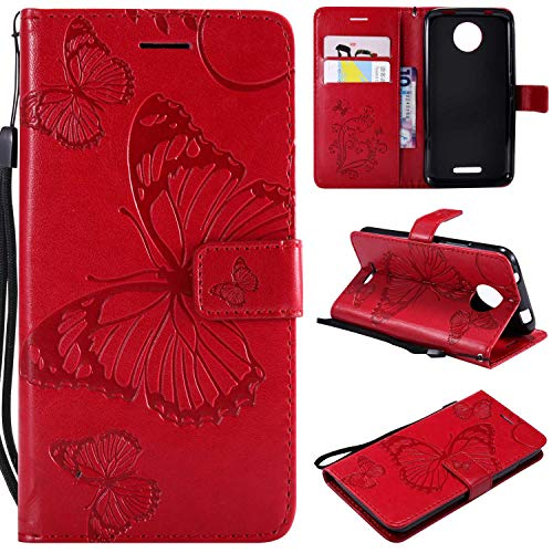 Moto C Hülle, Conber Lederhülle Handyhülle mit [Kostenlose Schutzfolie], PU Tasche Leder Flip Case Cover Emboss 3D Schmetterling Schutzhülle für Motorola Moto C - Rot
