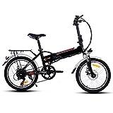 Profun Vélo de Montagne électrique Pliant Roues de 20/26 Pouces Batterie Lithium-ION Grande Capacité (36V 250W) Suspension Complète Premium et équipement Shimano (20'' Noir)