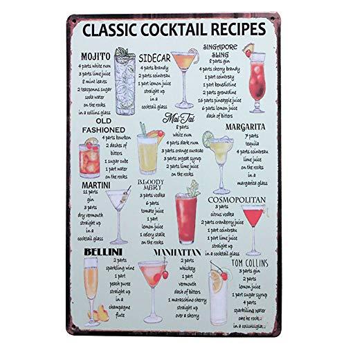 Lumanuby 1x 'Classic Cocktail Recipes' Metall Plakat für die Bar Bunt Wandposter von Mehrere Arten von Cocktails Name und Bild Wand Deko für Pub Club oder, Bar Sprüche Serie Size 20x30cm - Mehrere Bar