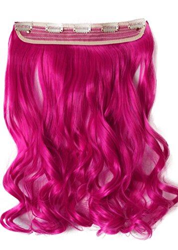 PRETTYSHOP 5 Clips 25cm x 60cm 120g One Piece Clip in Extensions Haarverlängerung Hiztebeständig Bunt Gewellt oder Glatt Diverse Farben (Echthaar-extensions Pink)