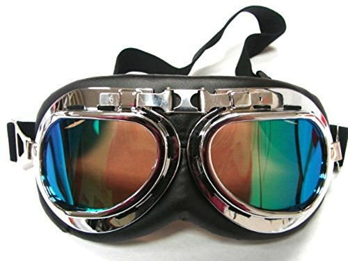 (Oumers Vintage Motorrad Brille, Anti-UV-verstellbare Motorrad Brille Motocross Scooter Harley Brille cool Fahrrad Snowboard winddicht Brille Weihnachten Halloween-Kostüme für Kinder, Männer und Frauen)