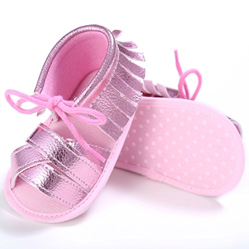 BOBORA Bebe Filles Garcons Premieres Chaussures de Marche Sandales D'ete avec Tassel pour 0-18M Rose