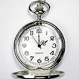 Avaner Reloj De Bolsillo Plateado Pulido De Cazador, Cadena Larga De 81cm, Estilo Sencillo Elegante, Cuarzo Reloj De Números Arábigos para Hombre Mujer