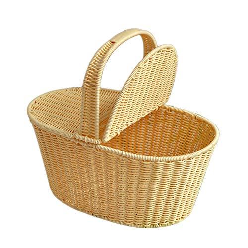 BovoYa Wicker Picknickkorb Künstliche Rattan Woven Storage Warenkorb Picknickkorb mit Deckel und Griff Geeignet für Familien, Outdoor, Camping -