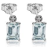 Pendientes Mujer Oro y Diamantes - Oro Blanco 9 Quilates 375...