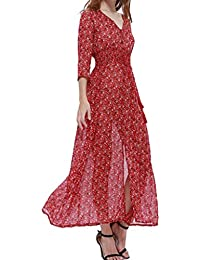 Phenovo Women Girls Fashionable Floral Pattern Charms Summer Casual Chiffon Party Beach Long Maxi Dress Party Costume Outfit Gift Size S