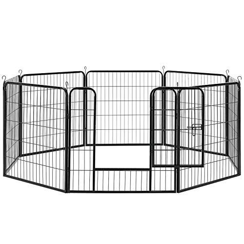 Sam´s Pet Metall Welpenauslauf   verriegelbare Tür   80 cm   Tierlaufstall für Hunde, Katzen & Kleintiere   Welpenlaufstall Freilaufgehege Laufgitter