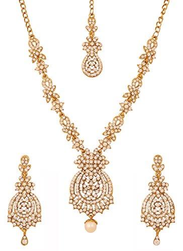 Touchstone Indian Bollywood White Rhines s Brautschmuck Collier-Set für Damen Gold