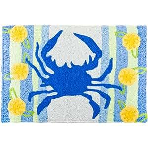 Home Comfort Animal World-Blau-Crab &Zitronen Memory Foam Fußmatte, Hellblau