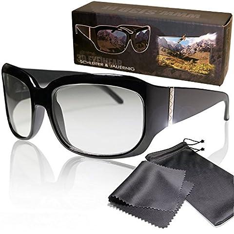 Edle, hochwertige 3D Brille - für passive 3D TVs und Kino - schwarz - kompatibel mit Cinema 3D von LG, Easy 3D von Philips und Kinos mit RealD - mit Brillenbeutel und