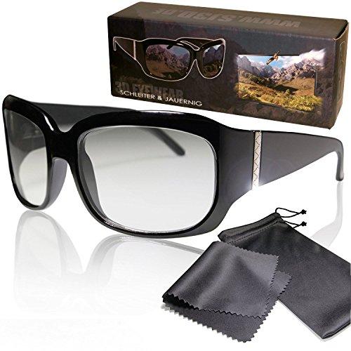 SJ3D Passive 3D Brille - edles, hochwertiges Damenmodell, mit silbernen Highlights- Polfilterbrille zirkular polarisiert - Für RealD 3D Kino & TV - Inkl. Mikrofaser Brillenbeutel und Putztuch