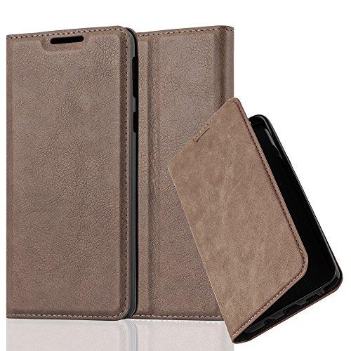Cadorabo Hülle für Sony Xperia E5 - Hülle in Kaffee BRAUN – Handyhülle mit Magnetverschluss, Standfunktion und Kartenfach - Case Cover Schutzhülle Etui Tasche Book Klapp Style