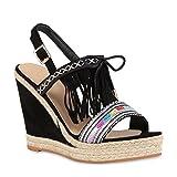 Stiefelparadies Modische Damen Strass Sandaletten Bast Pantoletten Wedges Schuhe 112442 Schwarz Bunt Fransen 39 Flandell