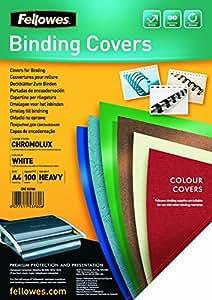 Fellowes  5378006 - Chromolux - Pack de 100 Couvertures de reliure A4 - Blanc