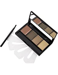 VALUE MAKERS 4 Colour Eyebrow Powder Kit with Stencils-Eye Brow Makeup Contour Palette-Waterproof Cosmetics Eyebrow Stencil Kits-Eyebrow Makeup Powder
