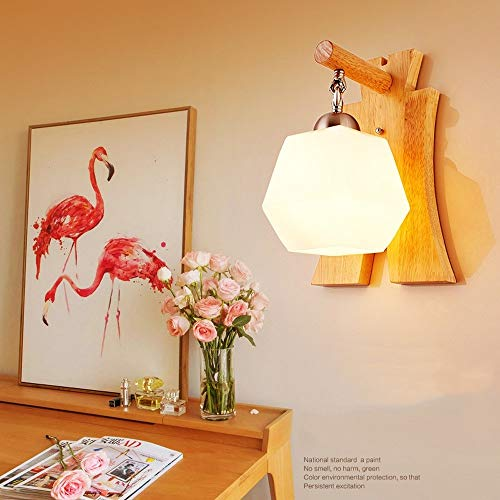 MAONB Kreative Mode Massivholz Eisen Wandleuchte Glas Lampenschirm Wandleuchten E14 LED Einzelkopf Schlafzimmer Nachttischlampe Nordic For Wohnzimmer Gang Dekorative Beleuchtung