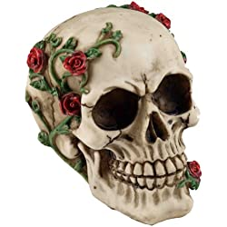 Large Gothic Skull Ornament - With Creeping Rose Vine
