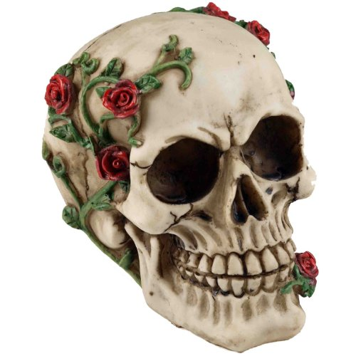 Large Gothic Skull Ornament - With Creeping Rose Vine by nemisis