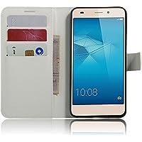 Flip Cover per Huawei Honor 5C / Honor 7 Lite / GT3, Moonmini® Custodia Wallet a Portafoglio Libro in PU Pelle con Stand, Slot & Chiusura Magnetica - White - Pulsante Politico Vintage