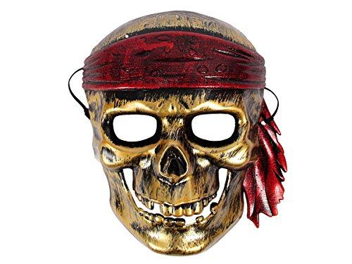 (Alsino Totenkopf Maske Silber Gold mit Gummiband aus Plastik Skelett Piratenmaske, Variante wählen:Totenkopf Pirat Gold)