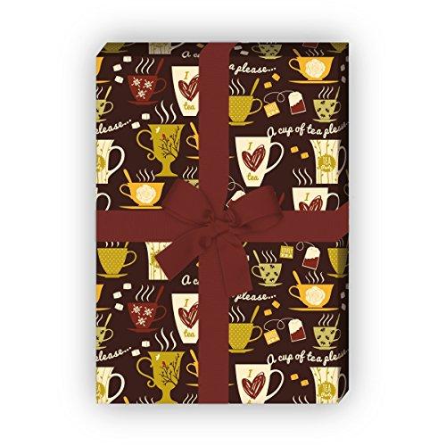 Kaffee Tassen Geschenkpapier Set (4 Bogen)/Dekorpapier für die kleine Pause - für tolle Geschenk Verpackung und Überraschungen basteln 32 x 48cm