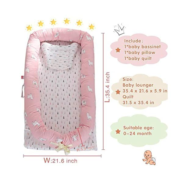 YANGGUANGBAOBEI Cuddly Baby Sleeping Pod - Breathable Foam Nest For Newborn And Babies,for Bed - Portable Baby Nest,G YANGGUANGBAOBEI Safe and Cosy Material: This baby bassinet is made of 100% cotton fabric and breathable, hypoallergenic internal filler, which is safe for baby's sensitive skin. Size:Baby lounger35.4x21.6x5.9inch,Quilt31.5 x 35.4 inch, this portable baby bassinet for bed is fit for baby 0-24 month and being adjustable. The ends of the bumpers can be fully opened, to satisfy children different levels. Multifunctional and Portable: Use the baby lounger as a bassinet for a bed, side sleeper, travel bed, newborn pillow, can be placed in cribs, adult beds, indoors, outdoors or other place you want,easy to carry outdoor. 7