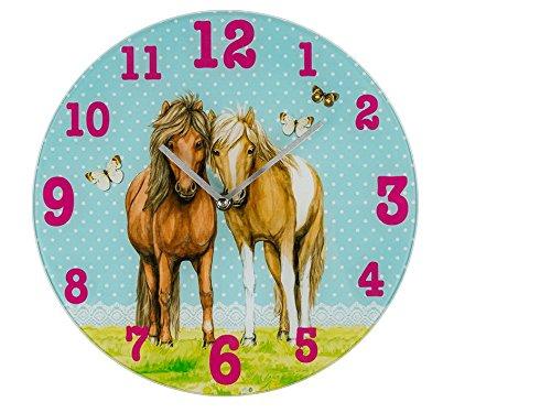Bezaubernde Wanduhr für das Kinderzimmer / Kinderwanduhr / Kinderuhr aus Glas mit wundervollem Pferde - Motiv in rosa - Größe ca. 30 cm Durchmesser - ein MUSS für alle Pferdeliebhaber - NEU im KAMACA - SHOP (Pferdepärchen)