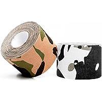 1 nastro kinesiologico mimetico, benda elastica di qualità / Tessuto in 100% cotone, resistente all'acqua, (7.5 Camo)