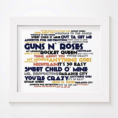 `Cadence` Kunstdruck Poster - GUNS N ROSES - Appetite For Destruction - Unterzeichnet und Nummerierten Limitierte Auflage Typografie Ungerahmt 25 x 20 cm Wand Kunst Druck Text Lyrisch Plakat (Plakat 1987)
