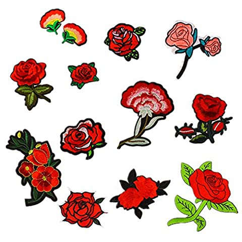12 PCS Exquisite Red Flowers Pattern DIY Clothes Patches Stickers Embroidered Sew Patches 12 Styles Clothes Accessories for T-shirt Jeans Clothing Bags