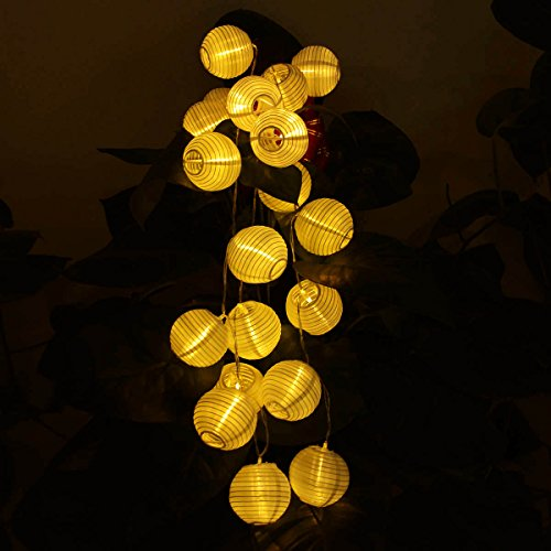 Deallink 20er Lampions LED Lichterkette mit Batteriehalter Garten Außen- und Innenbereich 2,2 Meter Warmweiß(AA Batteriebetrieben) -
