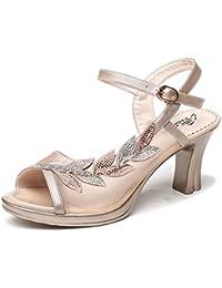 Jqdyl Tacones Nuevas Sandalias Tacones Altos de Verano de Las Mujeres Gruesas con los Zapatos de la Madre con...