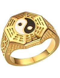PAURO Hombres de acero inoxidable Taoísta Tai Chi chismes chino de estilo nacional anillo de oro para la boda punk