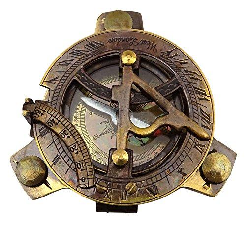 Boussole Magnétique Antique Nautique Sundial 4.2 Brass Maritime Compass