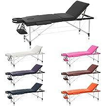 H-ROOT Camilla de masaje portátil de 3 secciones ligero zócalo terapia Tatoo Salon Reiki Curación sueco masaje 12.75 Kg (negro)