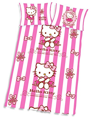 """Kinder-Bettwäsche Hello Kitty """"Your Dream Come True"""" Bezug 100x135cm Kissen 40x60cm 100umwolle"""