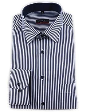 ETERNA Herren Langarm Hemd Modern Fit Modern Kent mit Patch blau / weiß gestreift 8982.19.X15P