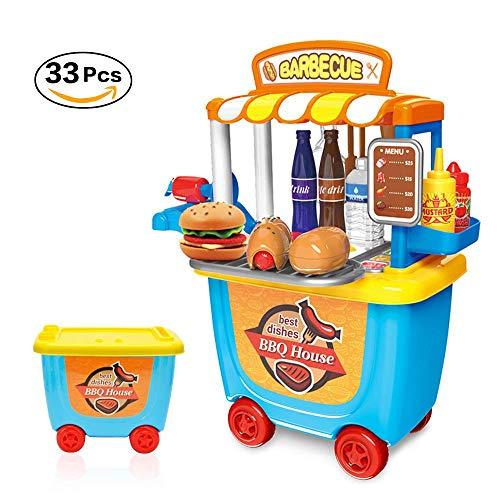 Lazeny Kinder Rollenspiel Spielwaren Spielzeug Set Lernspielzeug BBQ Wagen mit Robusten Koffer Pretend Play Toys Geburtstags Weihnachts Geschenk für Kinder ab 3 Jahren 33 Stücke-Barbecue