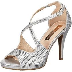 XTI Damen Metallic Textile Ladies Shoes Pumps Sandalen, Silber (Silver), 38 EU