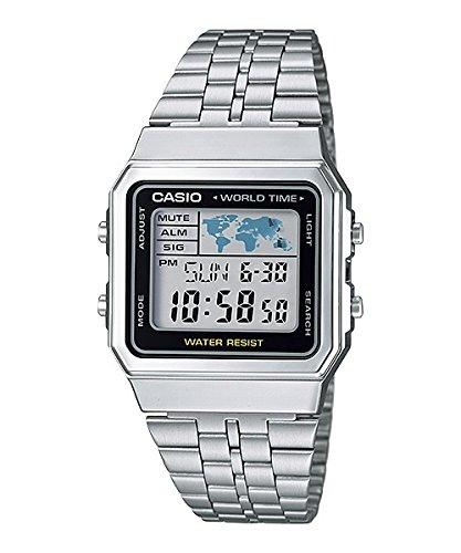 Casio Montre Unisex Digitale avec Bracelet en Acier Inoxydable – A500WA-1D